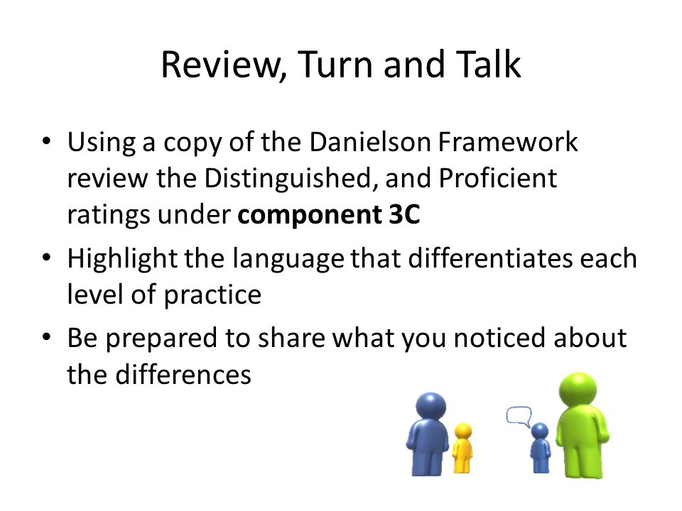 Review, Turn and Talk Using a copy of the Danielson Framework review the Distinguished, and Proficient ratings under component 3C Highlight the langua