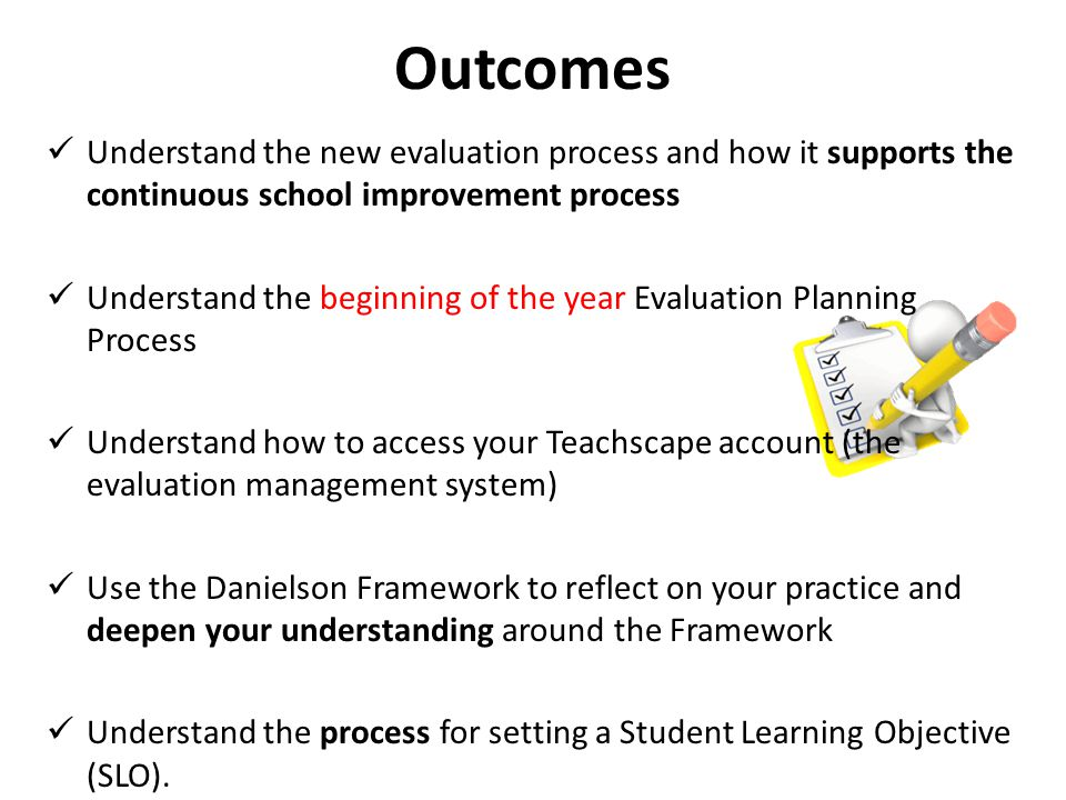 Agenda Welcome, Agenda and Outcomes AASD focus on continuous improvement The Danielson Framework and Self- Rating CSIP roll out Elements of the Student Learning Objective and example review