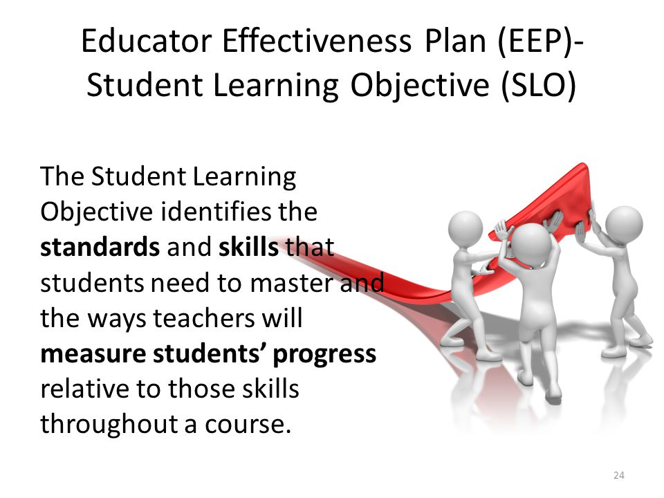 Educator Effectiveness Plan (EEP)- Student Learning Objective (SLO) The Student Learning Objective identifies the standards and skills that students n