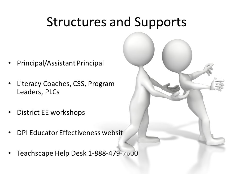Structures and Supports Principal/Assistant Principal Literacy Coaches, CSS, Program Leaders, PLCs District EE workshops DPI Educator Effectiveness we