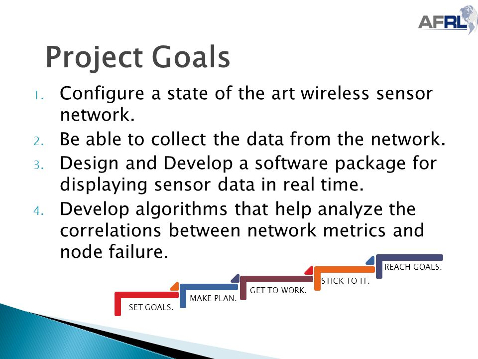 Project Goals SET GOALS. MAKE PLAN. GET TO WORK. STICK TO IT. REACH GOALS. 1. Configure a state of the art wireless sensor network. 2. Be able to coll