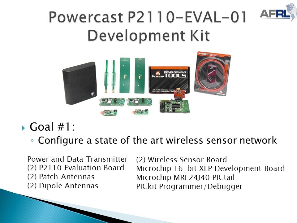  Goal #1: ◦ Configure a state of the art wireless sensor network Power and Data Transmitter (2) P2110 Evaluation Board (2) Patch Antennas (2) Dipole Antennas (2) Wireless Sensor Board Microchip 16-bit XLP Development Board Microchip MRF24J40 PICtail PICkit Programmer/Debugger