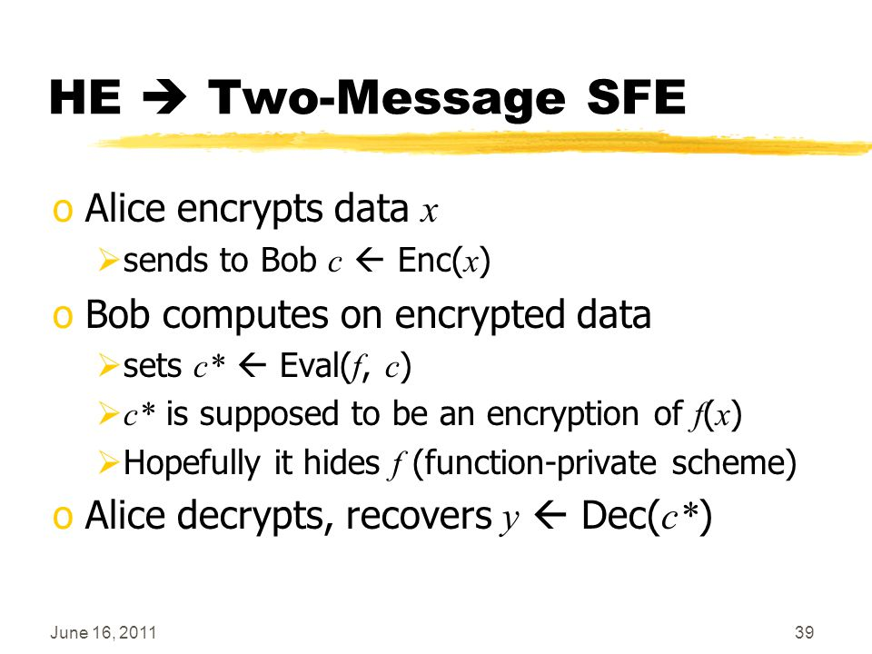 June 16, 201139 HE  Two-Message SFE oAlice encrypts data x  sends to Bob c  Enc( x ) oBob computes on encrypted data  sets c*  Eval( f, c )  c*
