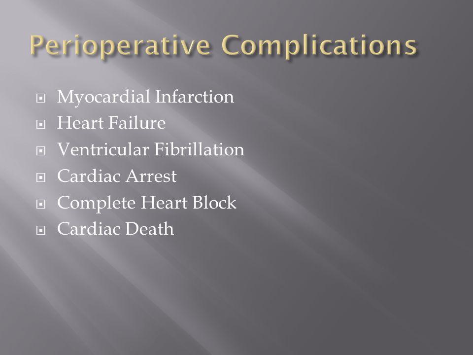  Myocardial Infarction  Heart Failure  Ventricular Fibrillation  Cardiac Arrest  Complete Heart Block  Cardiac Death