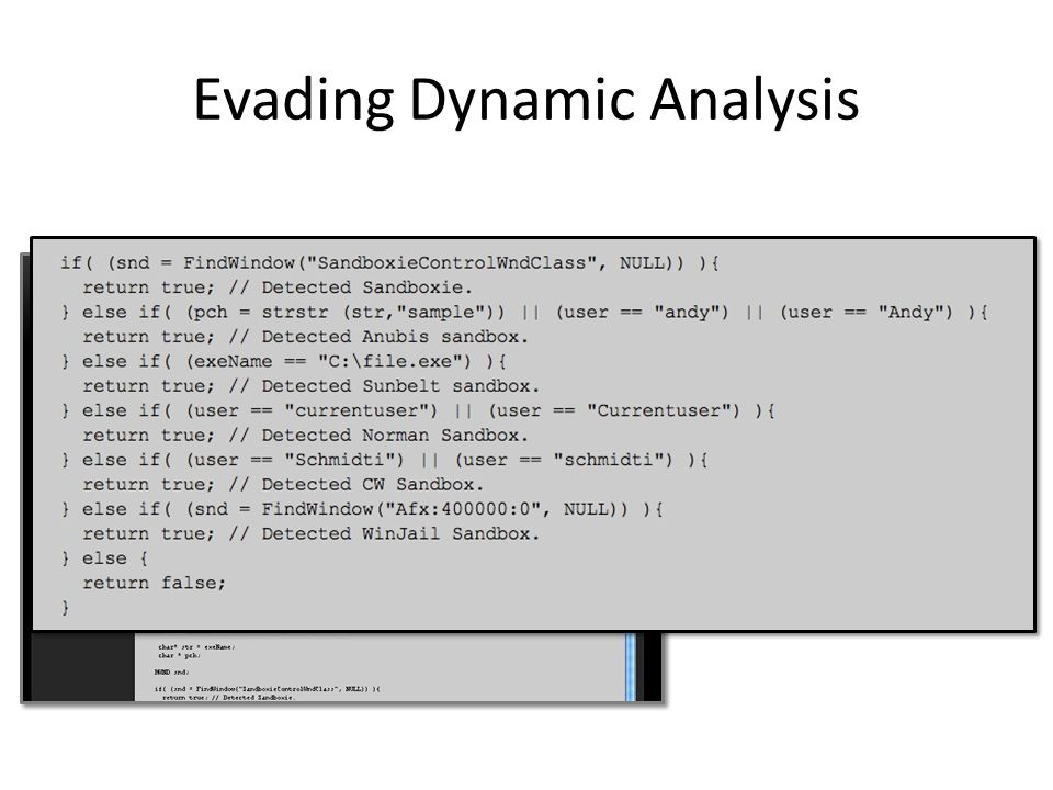 Evading Dynamic Analysis