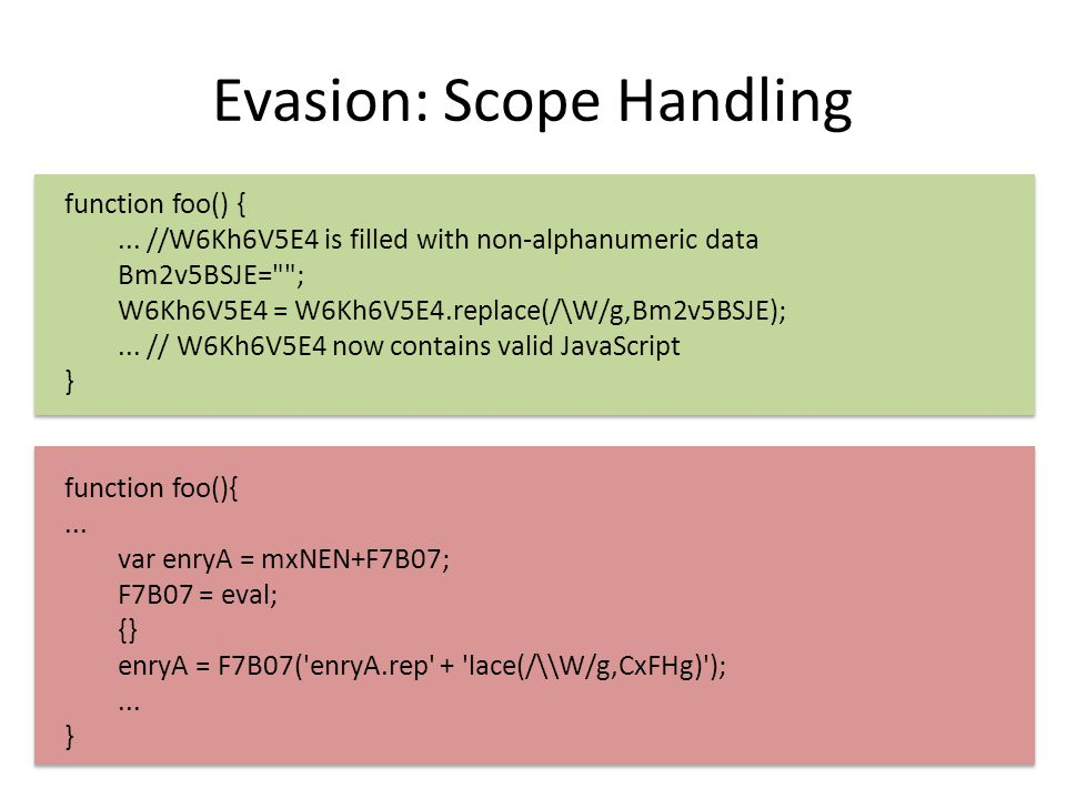 Evasion: Scope Handling function foo() {...