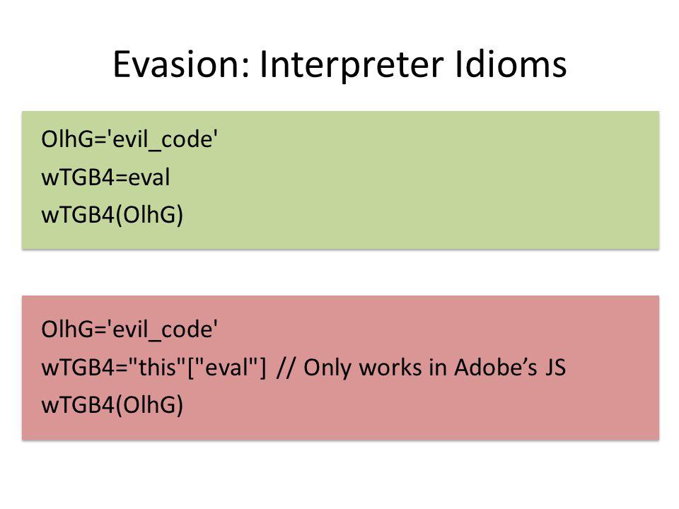 Evasion: Interpreter Idioms OlhG='evil_code' wTGB4=eval wTGB4(OlhG) OlhG='evil_code' wTGB4=