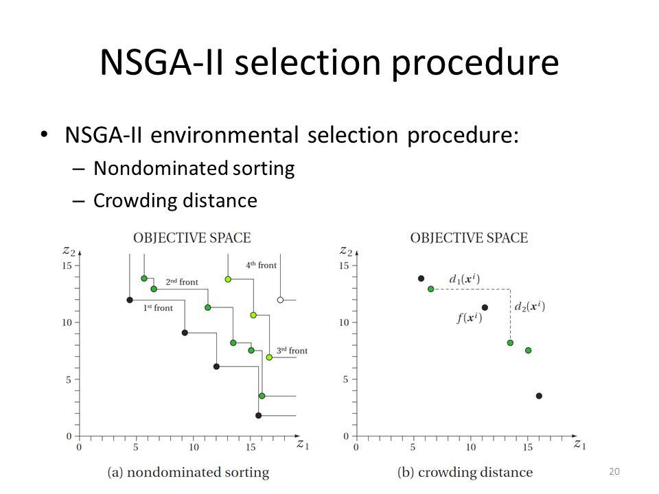 NSGA-II selection procedure NSGA-II environmental selection procedure: – Nondominated sorting – Crowding distance 20