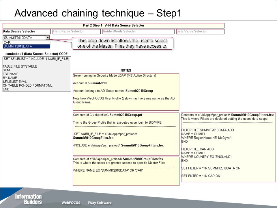 Advanced chaining technique – Step1 Copyright 2007, Information Builders.