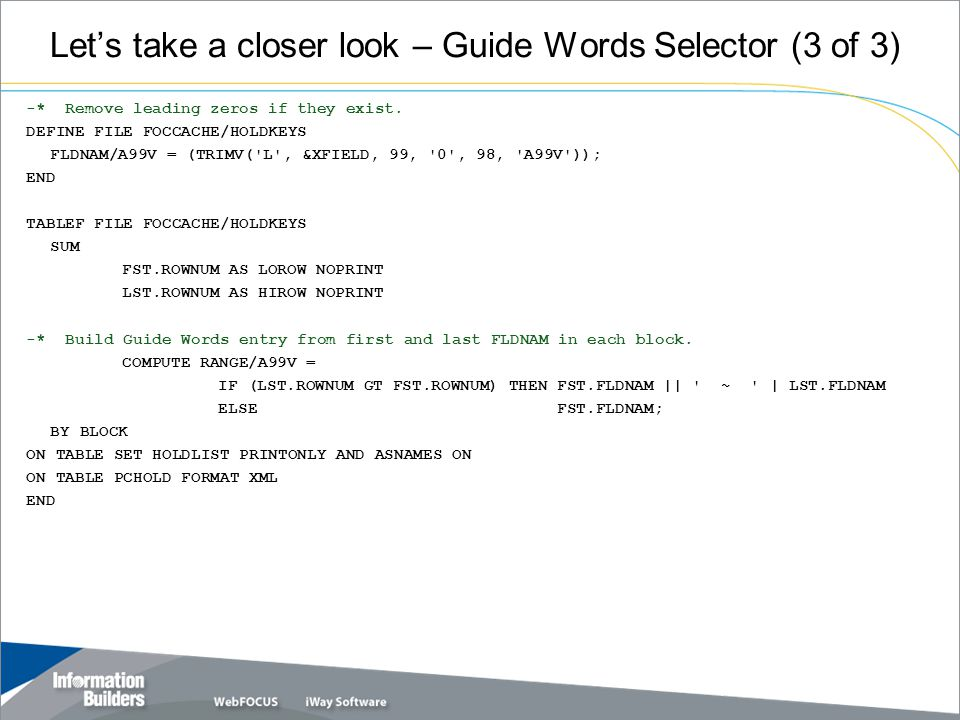Let's take a closer look – Guide Words Selector (3 of 3) -* Remove leading zeros if they exist.