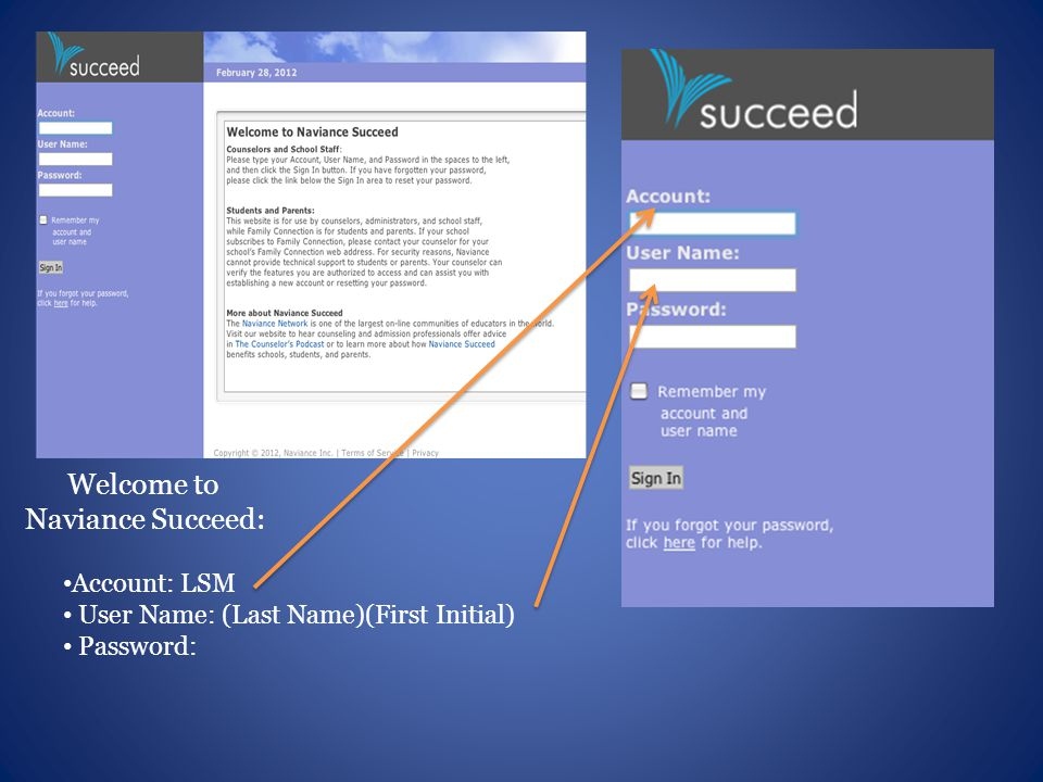 Welcome to Naviance Succeed: Account: LSM User Name: (Last Name)(First Initial) Password: