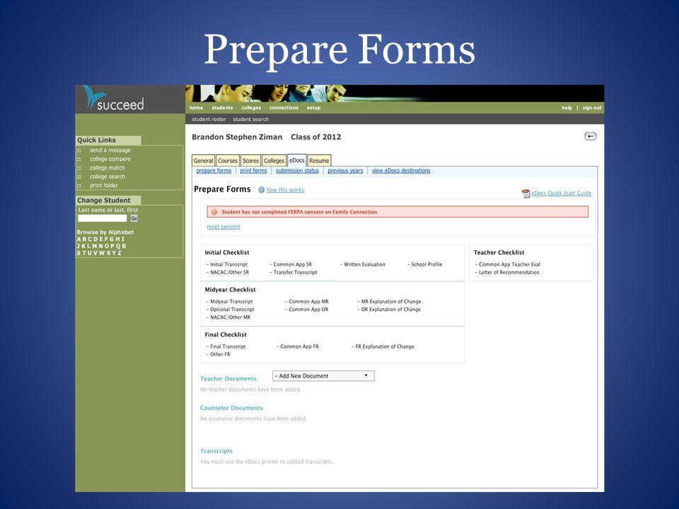 Prepare Forms