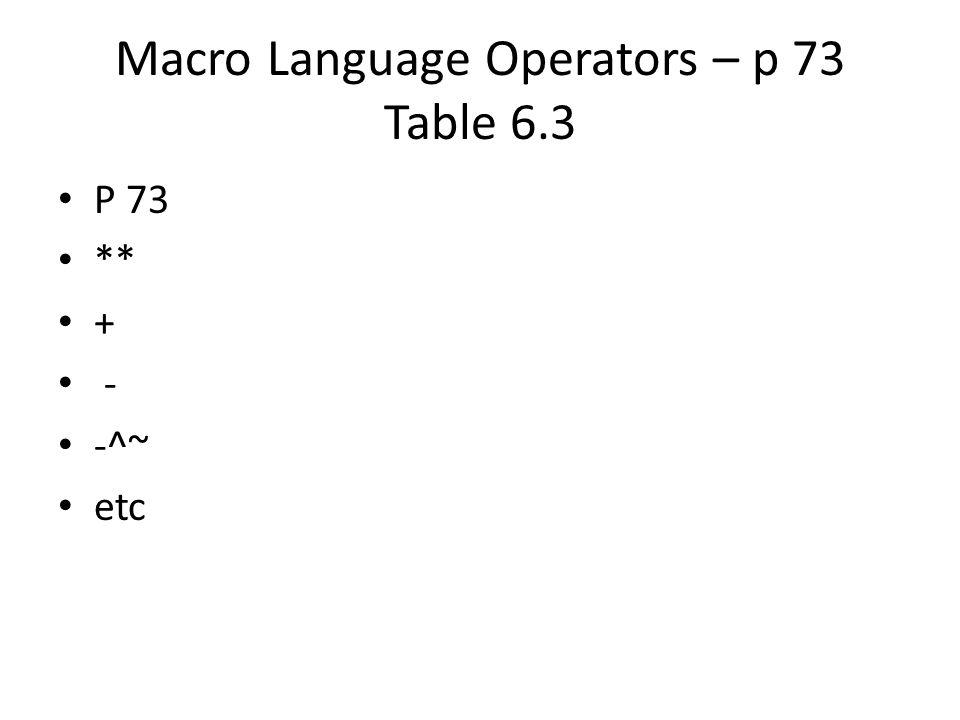 Macro Language Operators – p 73 Table 6.3 P 73 ** + - -^~ etc