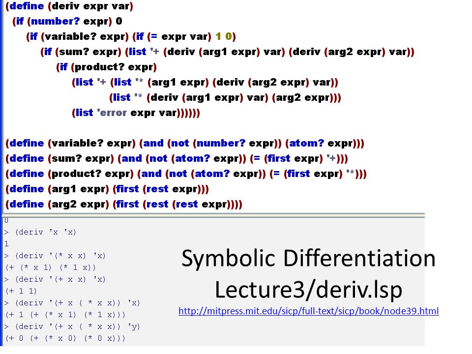 Symbolic Differentiation Lecture3/deriv.lsp http://mitpress.mit.edu/sicp/full-text/sicp/book/node39.html http://mitpress.mit.edu/sicp/full-text/sicp/book/node39.html