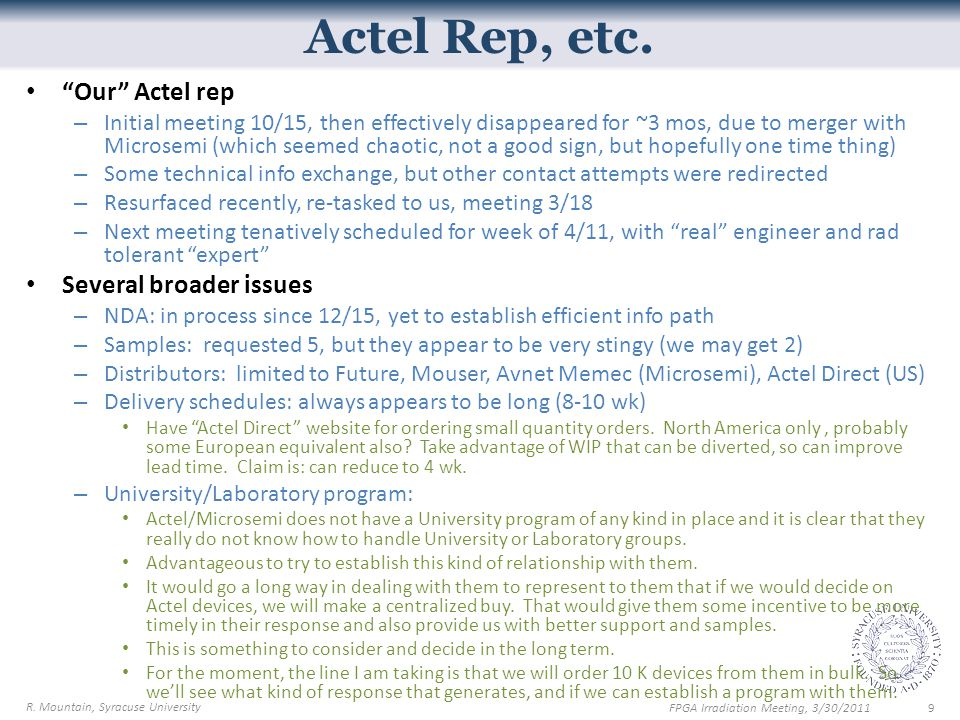 Actel Rep, etc.