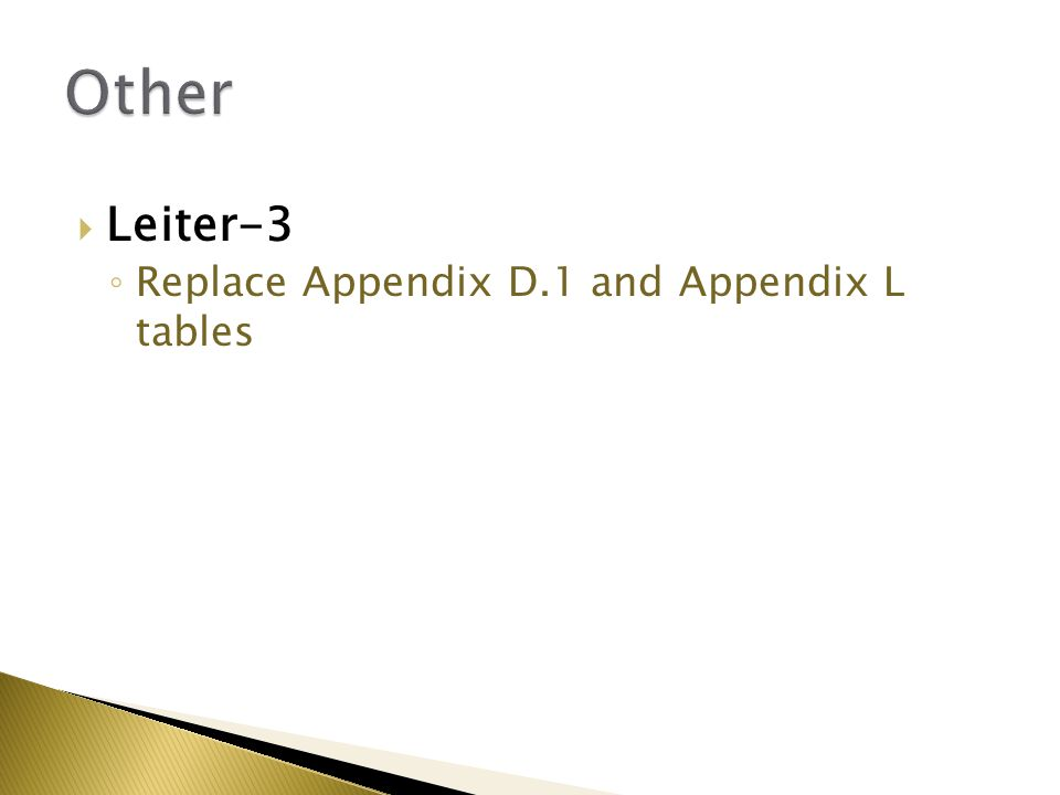  Leiter-3 ◦ Replace Appendix D.1 and Appendix L tables