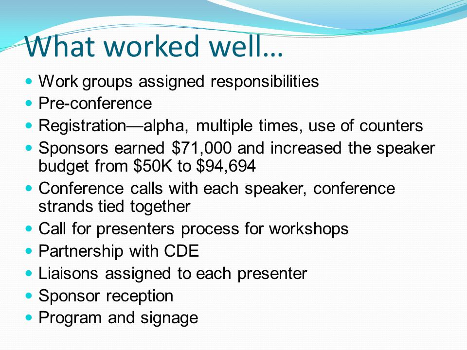 What worked well… Work groups assigned responsibilities Pre-conference Registration—alpha, multiple times, use of counters Sponsors earned $71,000 and increased the speaker budget from $50K to $94,694 Conference calls with each speaker, conference strands tied together Call for presenters process for workshops Partnership with CDE Liaisons assigned to each presenter Sponsor reception Program and signage