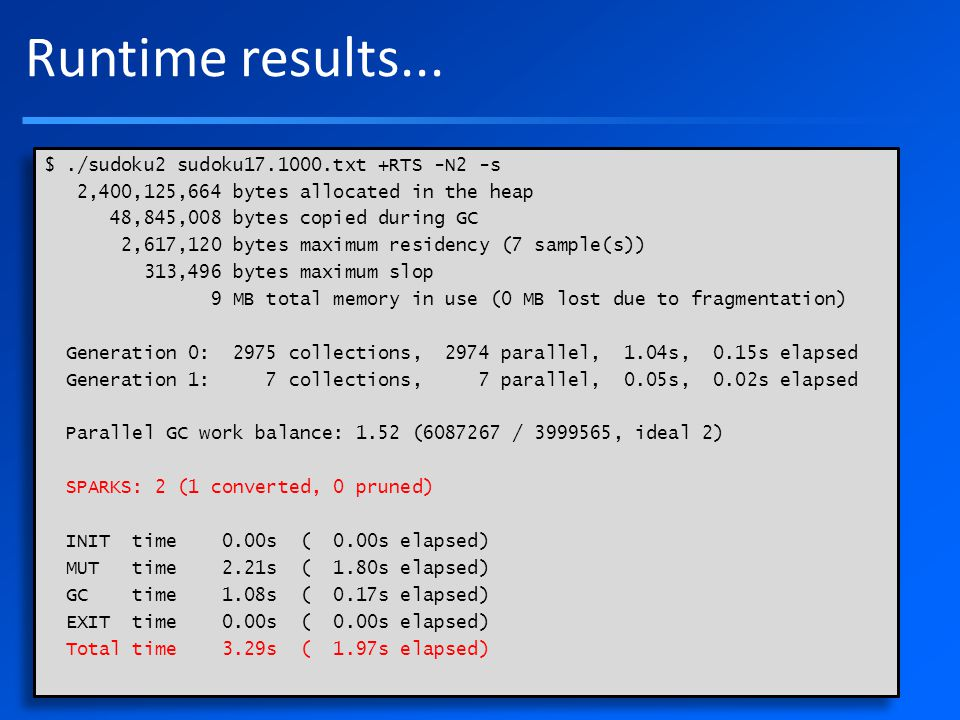 Runtime results...