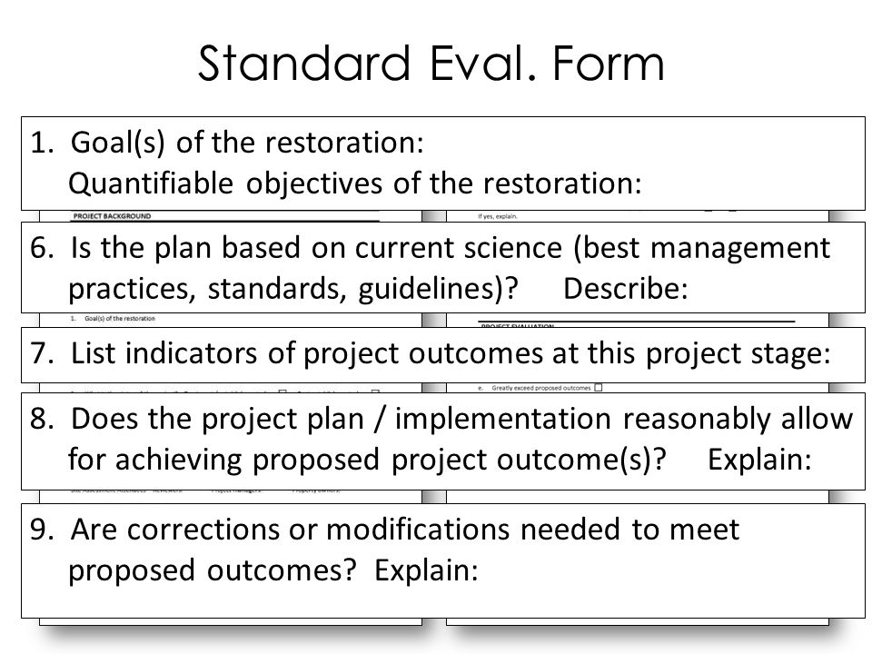 Standard Eval. Form 1. Goal(s) of the restoration: Quantifiable objectives of the restoration: 6.