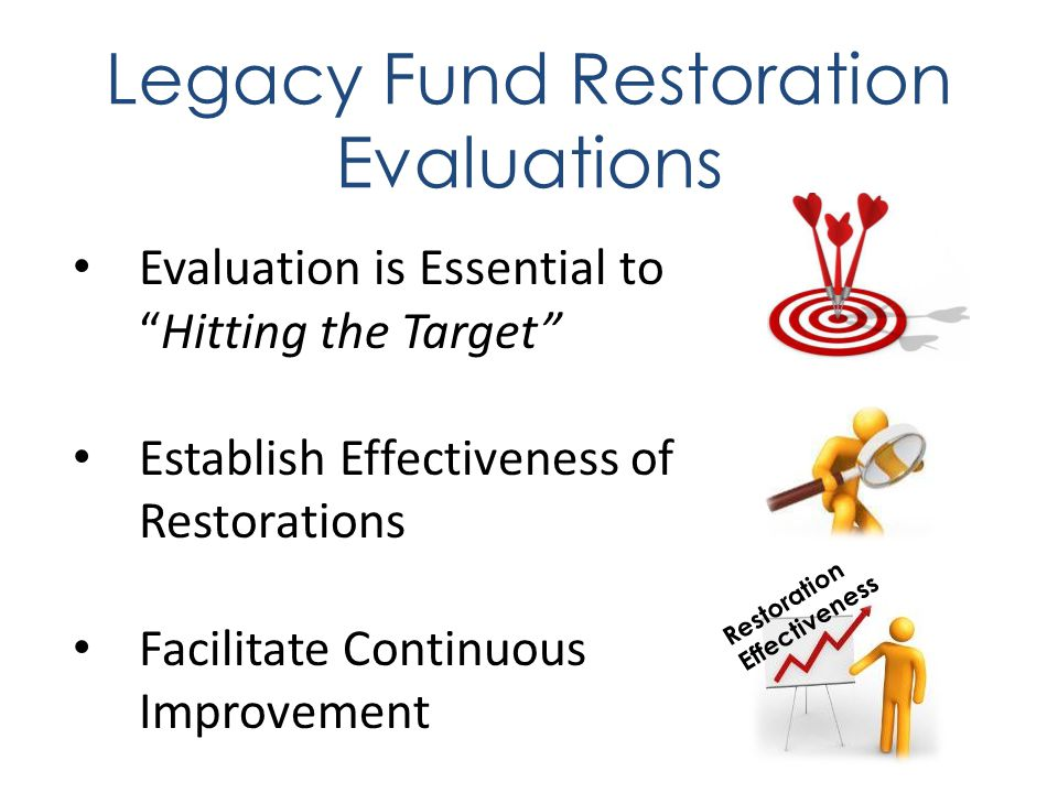 Evaluation is Essential to Hitting the Target Establish Effectiveness of Restorations Facilitate Continuous Improvement Restoration Effectiveness