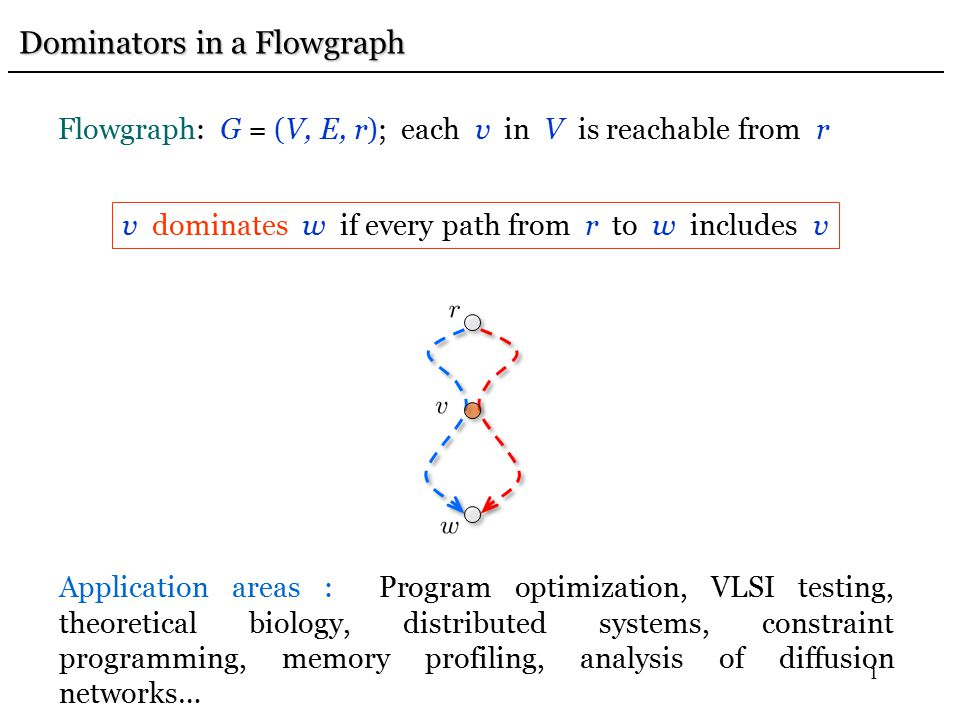 1 Dominators in a Flowgraph Dominators in a Flowgraph Flowgraph: G = (V, E, r); each v in V is reachable from r v dominates w if every path from r to w includes v Application areas : Program optimization, VLSI testing, theoretical biology, distributed systems, constraint programming, memory profiling, analysis of diffusion networks…