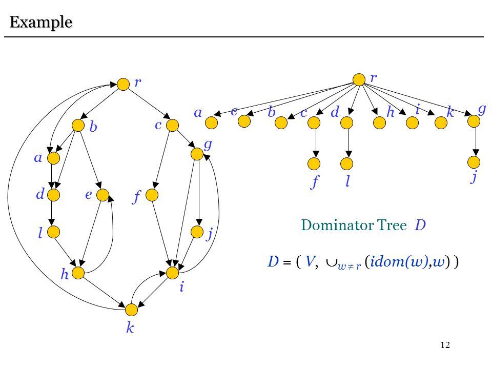 12 Example Example r b c a de l h f k i j g r bcad e l h f i j g k Dominator Tree D D = ( V,  w  r (idom(w),w) )