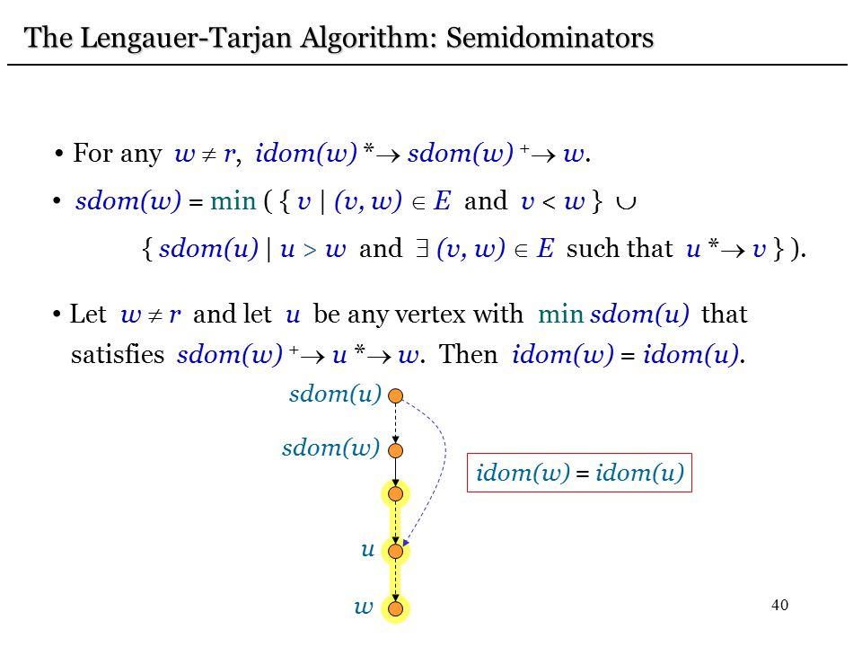 40 For any w  r, idom(w) *  sdom(w) +  w. sdom(w) = min ( { v | (v, w)  E and v < w }  { sdom(u) | u > w and  (v, w)  E such that u *  v } ).
