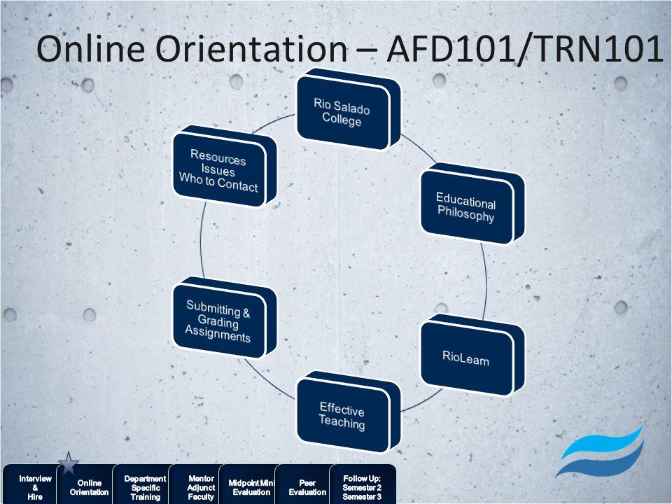 Online Orientation – AFD101/TRN101