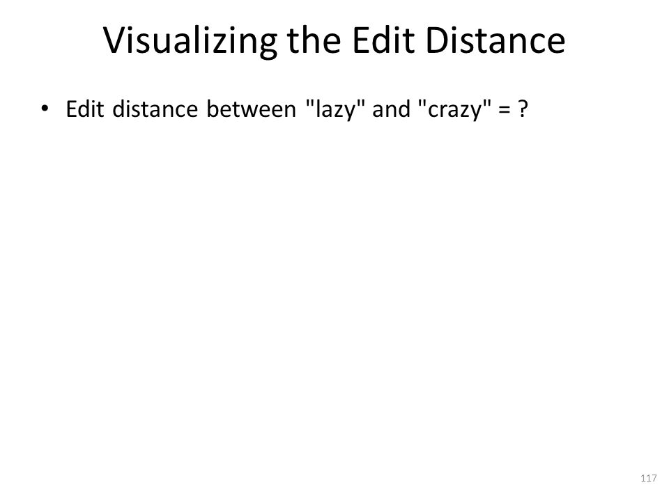 Visualizing the Edit Distance Edit distance between lazy and crazy = 117