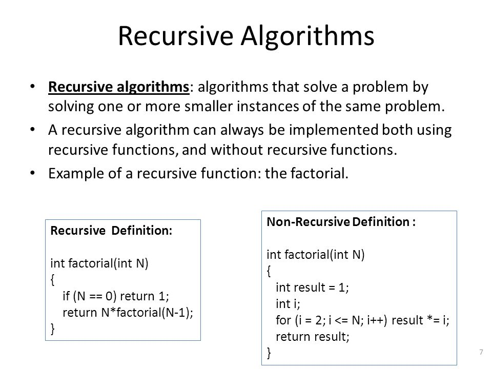 Recursive Algorithms Recursive algorithms: algorithms that solve a problem by solving one or more smaller instances of the same problem.