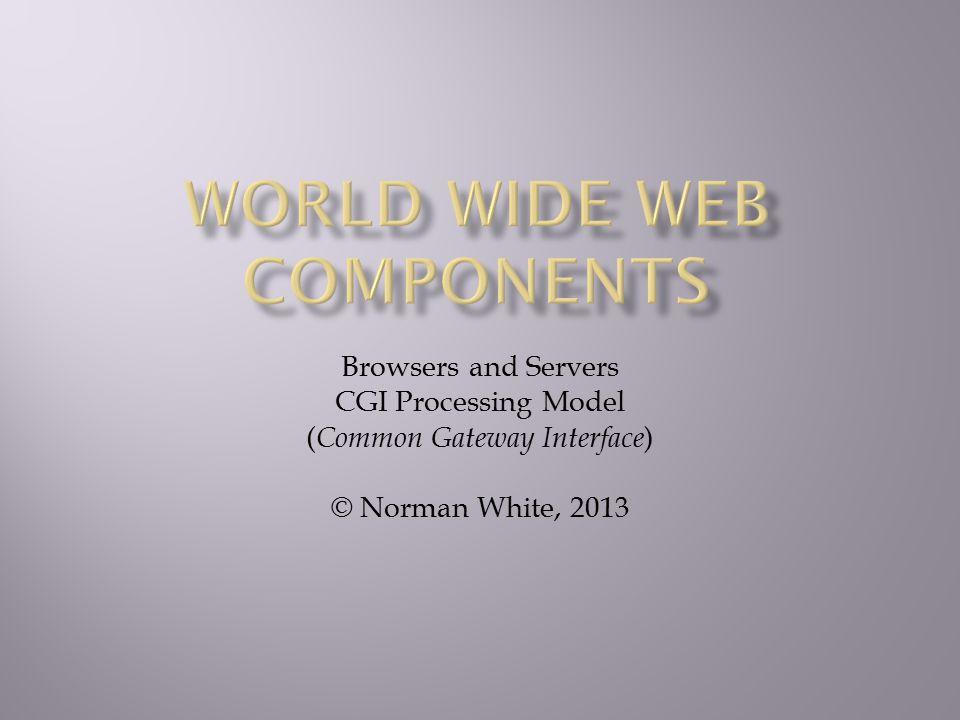  WWW and Client Server computing  Forms & CGI programming  Writing a CGI program