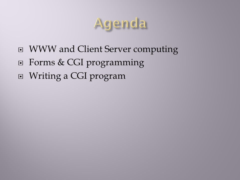  WWW and Client Server computing  Forms & CGI programming  Writing a CGI program