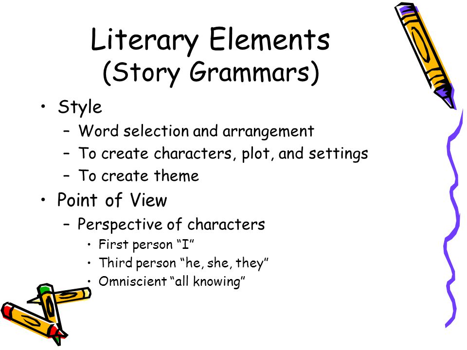 Literary Elements (Story Grammars) Style –Word selection and arrangement –To create characters, plot, and settings –To create theme Point of View –Perspective of characters First person I Third person he, she, they Omniscient all knowing