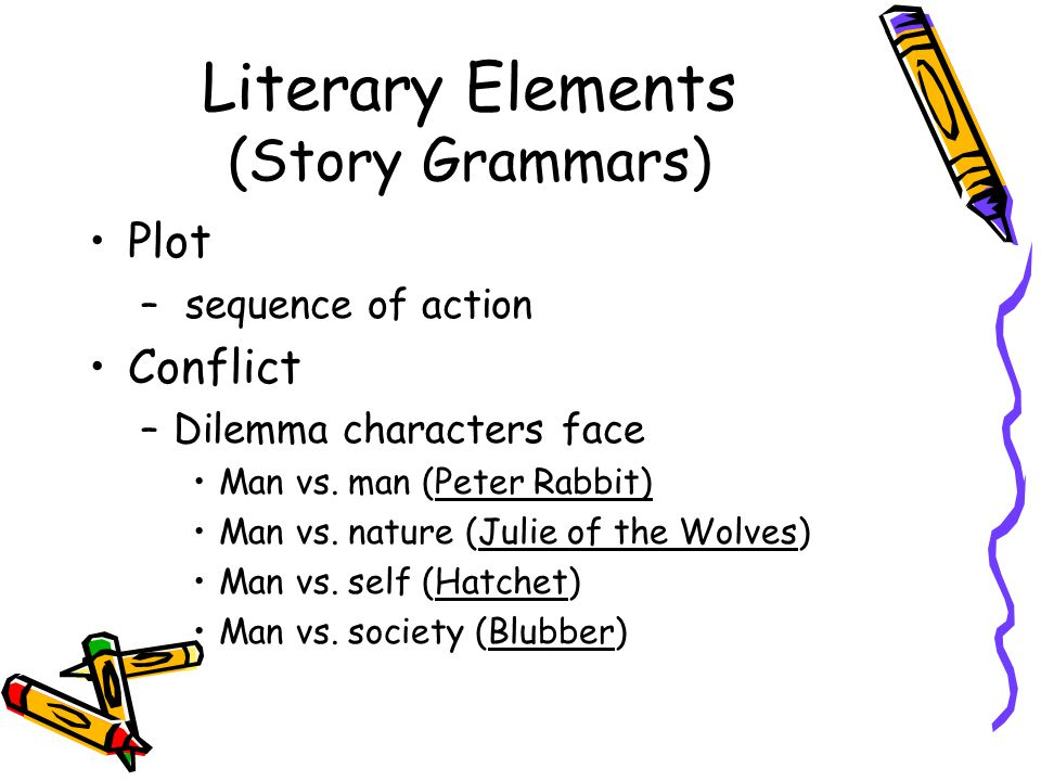Literary Elements (Story Grammars) Plot – sequence of action Conflict –Dilemma characters face Man vs.