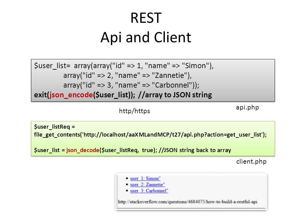REST Api and Client $user_list= array(array(