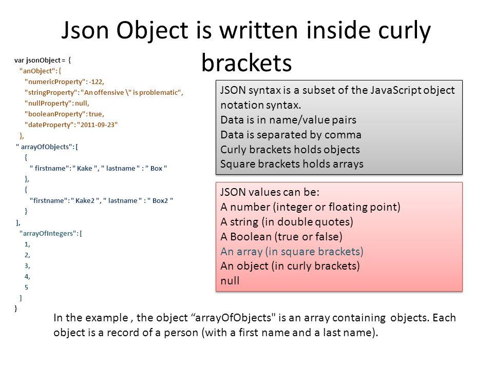 Json Object is written inside curly brackets var jsonObject = {