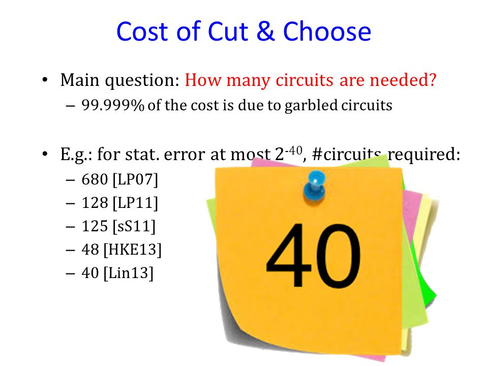Cost of Cut & Choose Main question: How many circuits are needed.
