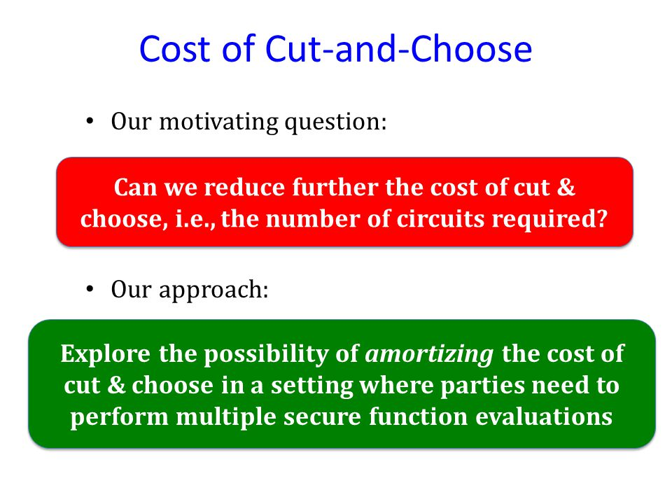 Cost of Cut-and-Choose Our motivating question: Can we reduce further the cost of cut & choose, i.e., the number of circuits required.