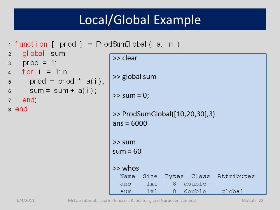 Local/Global Example 6/4/2011McLab Tutorial, Laurie Hendren, Rahul Garg and Nurudeen LameedMatlab - 22 >> clear >> global sum >> sum = 0; >> ProdSumGlobal([10,20,30],3) ans = 6000 >> sum sum = 60 >> whos Name Size Bytes Class Attributes ans 1x1 8 double sum 1x1 8 double global
