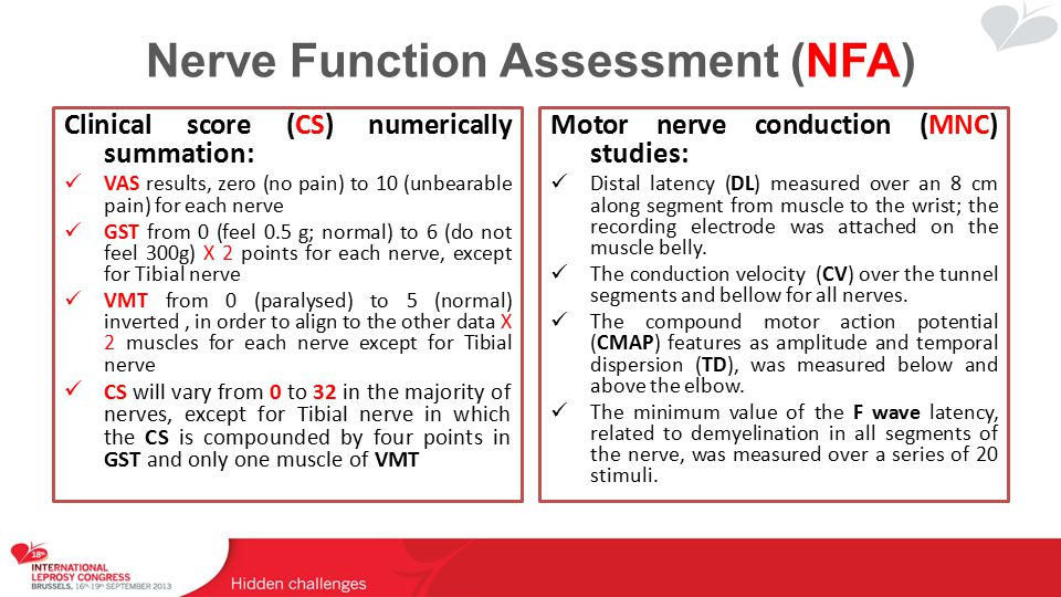 Nerve Function Assessment (NFA) Clinical score (CS) numerically summation: VAS results, zero (no pain) to 10 (unbearable pain) for each nerve GST from 0 (feel 0.5 g; normal) to 6 (do not feel 300g) X 2 points for each nerve, except for Tibial nerve VMT from 0 (paralysed) to 5 (normal) inverted, in order to align to the other data X 2 muscles for each nerve except for Tibial nerve CS will vary from 0 to 32 in the majority of nerves, except for Tibial nerve in which the CS is compounded by four points in GST and only one muscle of VMT Motor nerve conduction (MNC) studies: Distal latency (DL) measured over an 8 cm along segment from muscle to the wrist; the recording electrode was attached on the muscle belly.