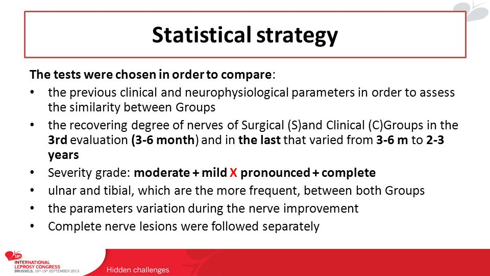 Statistical Results: surgical (s) x clinical (c) all nerves For Clinical Score (CS) In the 1st eval: statistical differences, though the S Group shows more severe nerves, P = 0,018 1st/3rd eval (3-6 month): no statistical differences 1st/Last eval: no statistical differences VSA ↑ pron+compl > mod+mild VMT ↑ mod+mild > pron+compl S-W ↑ = For Motor nerve conduction (MNC) studies In the 1st eval: no statistical differences 3rd eval (3-6 month): F wave, P: 0,057 1st/Last eval: F wave, P = 0,049 Positive Pearson correlations : CMAP distal amplitude X proximal X CVs