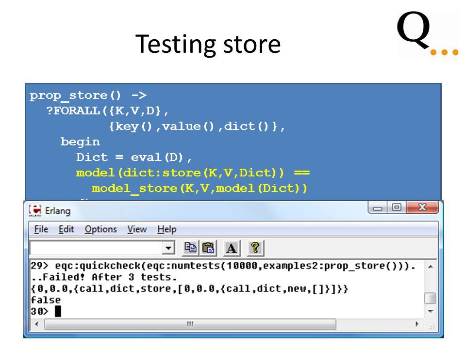 Testing store prop_store() -> FORALL({K,V,D}, {key(),value(),dict()}, begin Dict = eval(D), model(dict:store(K,V,Dict)) == model_store(K,V,model(Dict)) end).