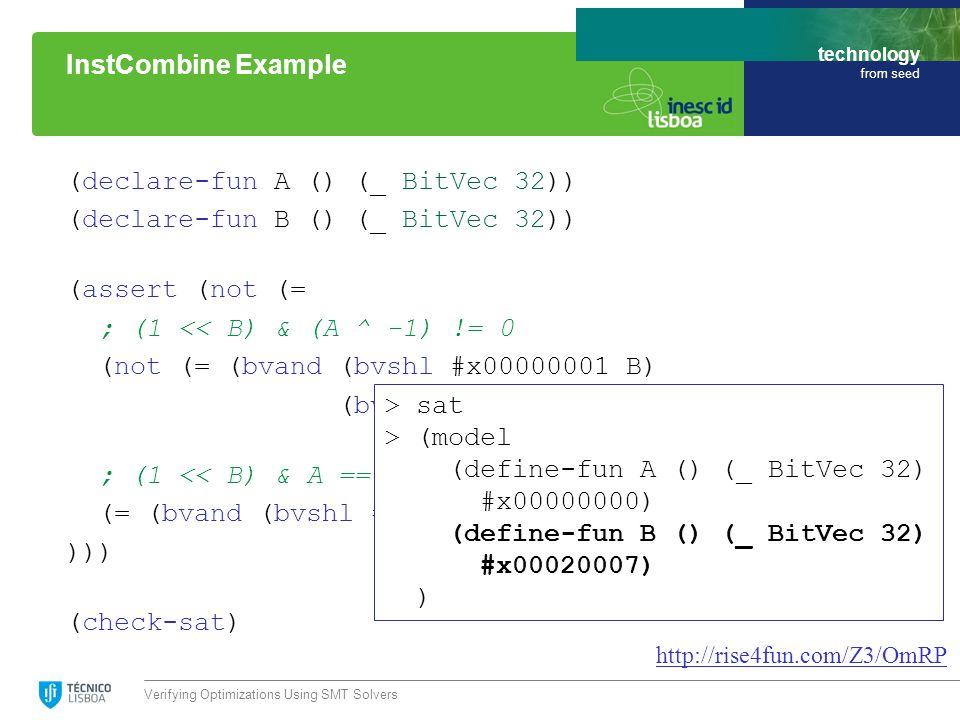 technology from seed (declare-fun A () (_ BitVec 32)) (declare-fun B () (_ BitVec 32)) (assert (not (= ; (1 << B) & (A ^ -1) != 0 (not (= (bvand (bvshl #x00000001 B) (bvxor A #xffffffff)) #x00000000)) ; (1 << B) & A == 0 (= (bvand (bvshl #x00000001 B) A) #x00000000) ))) (check-sat) Verifying Optimizations Using SMT Solvers InstCombine Example http://rise4fun.com/Z3/OmRP > sat > (model (define-fun A () (_ BitVec 32) #x00000000) (define-fun B () (_ BitVec 32) #x00020007) )