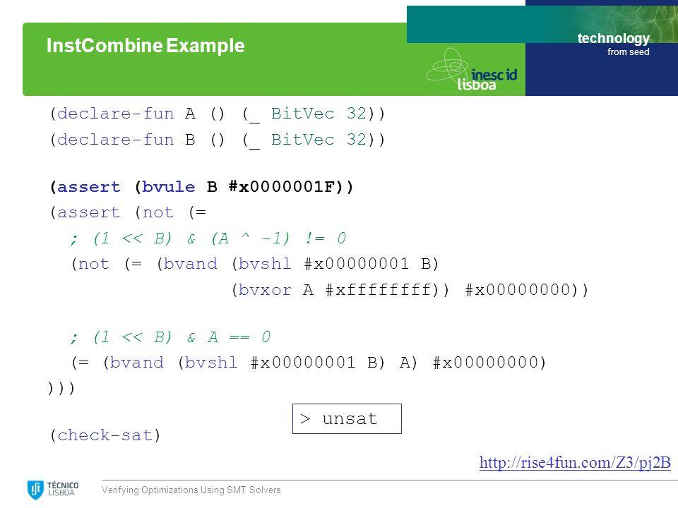 technology from seed (declare-fun A () (_ BitVec 32)) (declare-fun B () (_ BitVec 32)) (assert (bvule B #x0000001F)) (assert (not (= ; (1 << B) & (A ^ -1) != 0 (not (= (bvand (bvshl #x00000001 B) (bvxor A #xffffffff)) #x00000000)) ; (1 << B) & A == 0 (= (bvand (bvshl #x00000001 B) A) #x00000000) ))) (check-sat) Verifying Optimizations Using SMT Solvers InstCombine Example http://rise4fun.com/Z3/pj2B > unsat