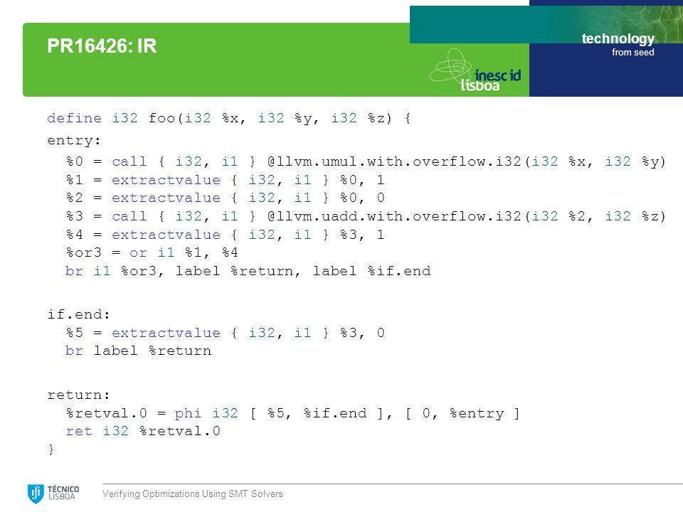 technology from seed define i32 foo(i32 %x, i32 %y, i32 %z) { entry: %0 = call { i32, i1 } @llvm.umul.with.overflow.i32(i32 %x, i32 %y) %1 = extractvalue { i32, i1 } %0, 1 %2 = extractvalue { i32, i1 } %0, 0 %3 = call { i32, i1 } @llvm.uadd.with.overflow.i32(i32 %2, i32 %z) %4 = extractvalue { i32, i1 } %3, 1 %or3 = or i1 %1, %4 br i1 %or3, label %return, label %if.end if.end: %5 = extractvalue { i32, i1 } %3, 0 br label %return return: %retval.0 = phi i32 [ %5, %if.end ], [ 0, %entry ] ret i32 %retval.0 } Verifying Optimizations Using SMT Solvers PR16426: IR