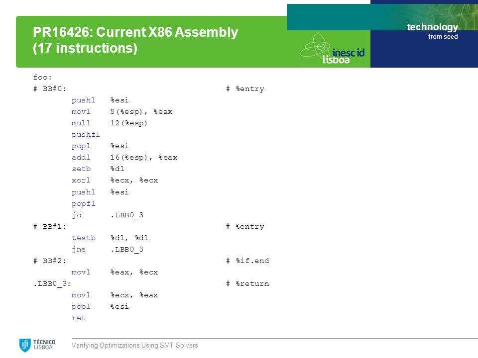 technology from seed foo: # BB#0: # %entry pushl %esi movl 8(%esp), %eax mull 12(%esp) pushfl popl %esi addl 16(%esp), %eax setb %dl xorl %ecx, %ecx pushl %esi popfl jo.LBB0_3 # BB#1: # %entry testb %dl, %dl jne.LBB0_3 # BB#2: # %if.end movl %eax, %ecx.LBB0_3: # %return movl %ecx, %eax popl %esi ret Verifying Optimizations Using SMT Solvers PR16426: Current X86 Assembly (17 instructions)