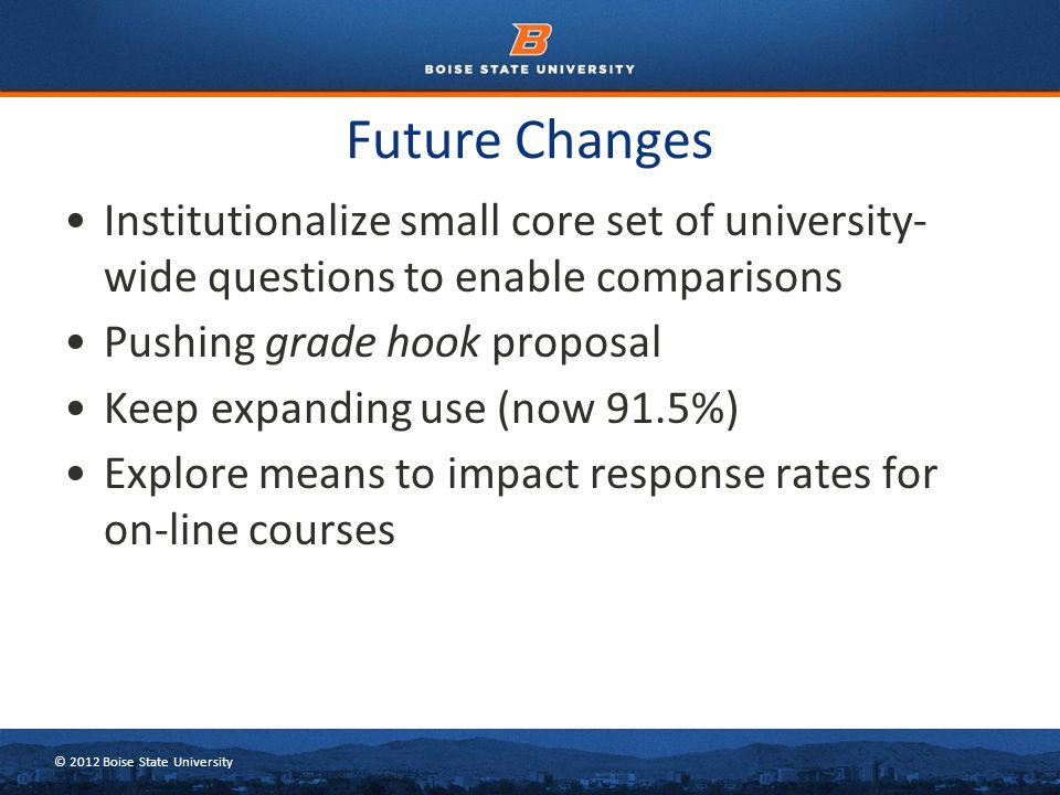 © 2012 Boise State University Future Changes Institutionalize small core set of university- wide questions to enable comparisons Pushing grade hook pr