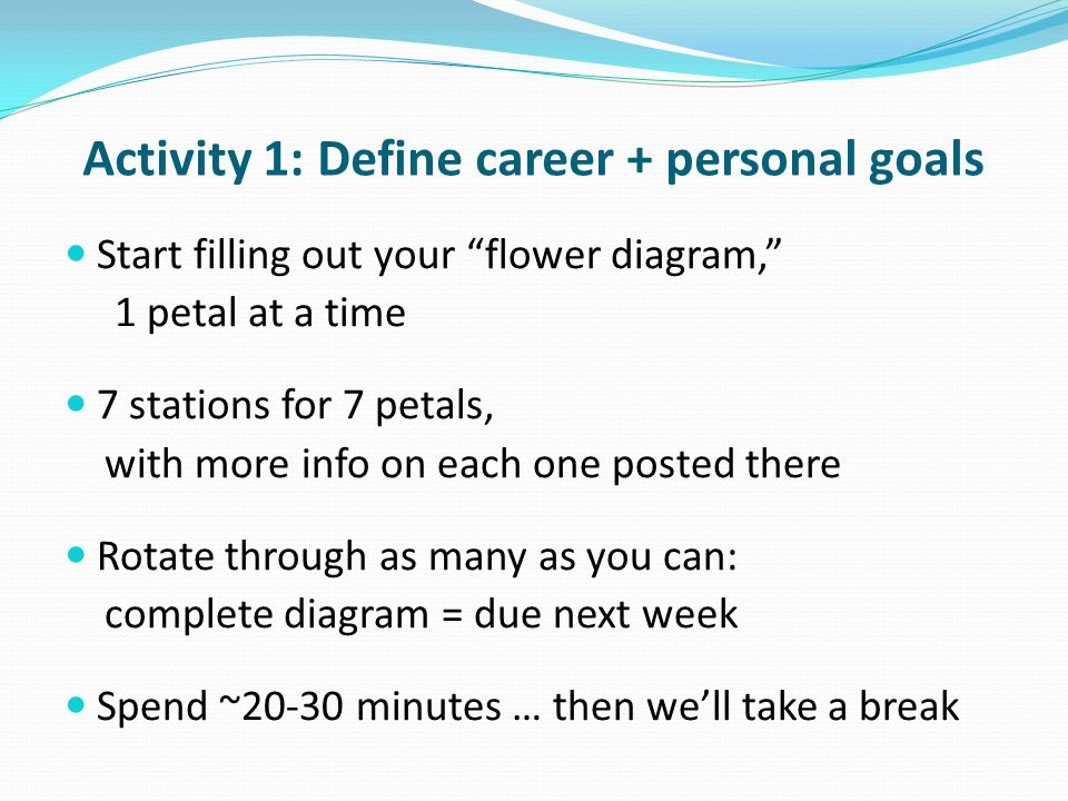 "Activity 1: Define career + personal goals Start filling out your ""flower diagram,"" 1 petal at a time 7 stations for 7 petals, with more info on each"