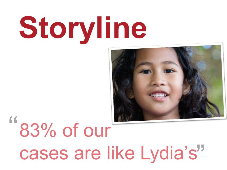 """Storyline 83% of our cases are like Lydia's """" """""""