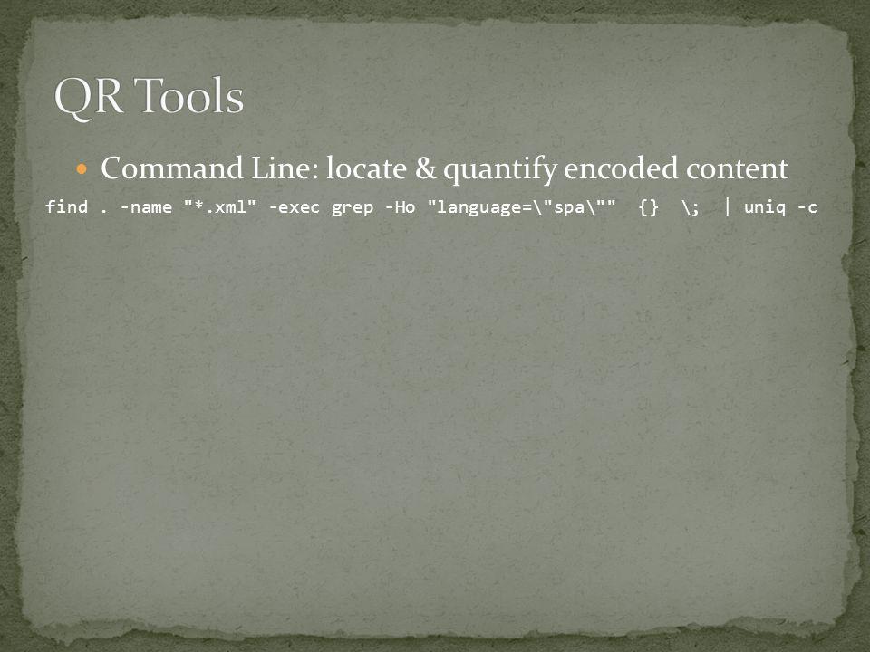 find. -name *.xml -exec grep -Ho language=\ spa\ {} \; | uniq -c